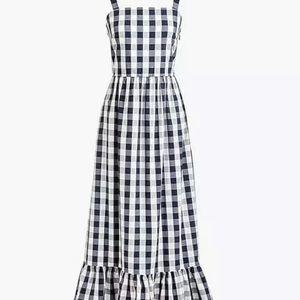 Jcrew gingham organic cotton maxi dress